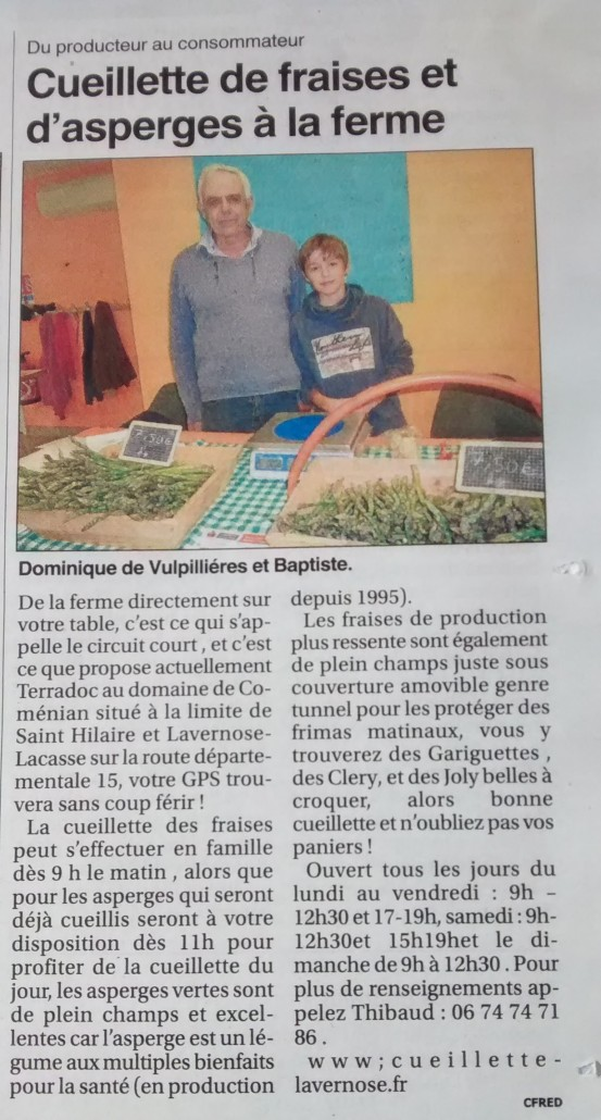 Article du Petit Journal du Comminges